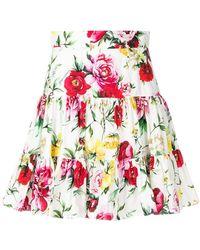 Dolce & Gabbana - Rose Print Mini Skirt - Lyst