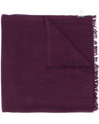Faliero Sarti Textured Frayed Edge Scarf - Purple