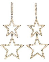 Rosa De La Cruz - Burnished Gold And Brown Diamond Star Earrings - Lyst