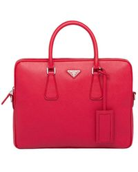 Prada Porte-documents en cuir Saffiano - Rose