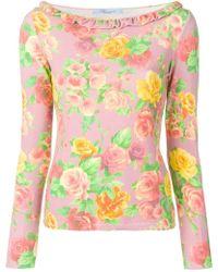 Blumarine - Floral Print Top - Lyst