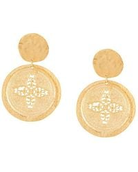 Kenneth Jay Lane - Carved Coin Drop Earrings - Lyst