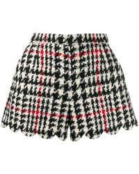RED Valentino Scalloped Houndstooth Wool-blend Bouclé Shorts