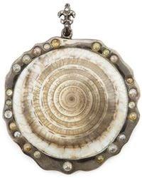 Loree Rodkin - Round Shell Diamond Pendant - Lyst