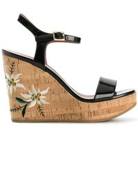 Bally Caelie Embroidered Wedge Sandals - Black