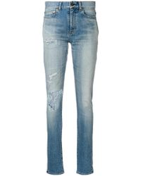 Saint Laurent - Distressed Skinny Jeans - Lyst