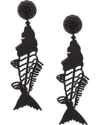 Oscar de la Renta - Scribble Beaded Fish Earrings - Lyst