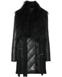 David Koma - Quilted Coat With Shearling Collar - Lyst