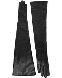 Ann Demeulemeester Long Leather Gloves - Black