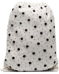 Ganni White Wintour Sequin Embellished Polka-dot Drawstring Bag