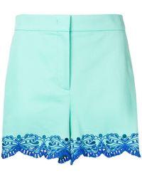 Emilio Pucci - Blue Sangallo Embroidered Shorts - Lyst