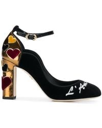 Dolce & Gabbana - Vally Velvet Pumps With Embroidery - Lyst