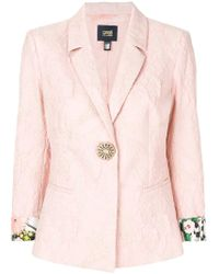 Class Roberto Cavalli - Rolled-up Sleeve Textured Blazer - Lyst