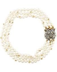 Gucci - Feline Motif Pearl Necklace - Lyst