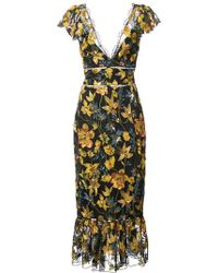 Marchesa notte - Floral Fitted Dress - Lyst