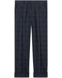 Gucci - Pantalón de Sastrería a Cuadros con Abejas - Lyst