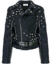 Aviu - Embellished Textured Biker Jacket - Lyst
