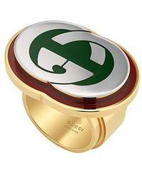 Gucci - Interlocking G Ring With Enamel - Lyst
