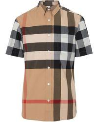 Burberry Geruit Stretch Shirt Van Katoen Met Korte Mouwen - Meerkleurig
