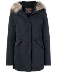 Woolrich - Fur-trim Zipped Parka Coat - Lyst