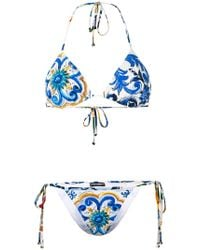 a025b7bd91 Dolce   Gabbana Majolica-print Brocade Bustier in Blue - Lyst