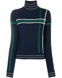 Carven - Striped High Neck Knit Sweater - Lyst