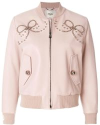 Fendi - Leather Bomber Jacket With Double Bow Of Pearls - Lyst