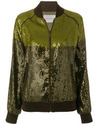 Alberta Ferretti - Colour Block Sequin Embellished Jacket - Lyst