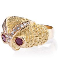 Yvonne Léon - Gold Owl Diamond Ring - Lyst
