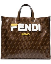 c771168869 Fendi - Mania Brown And White Large Logo Print Tote Bag - Lyst