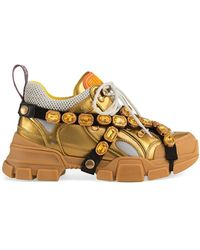 Gucci - Flashtrek Leather Sneaker With Crystals - Lyst