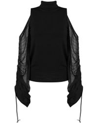 Plein Sud - Cold Shoulders Oversized Sleeves Top - Lyst