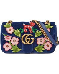 17521834dd25 Gucci - GG Marmont Velvet Small Shoulder Bag - Lyst