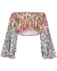 All Things Mochi - Lenny Floral Print Cropped Cotton Blouse - Lyst