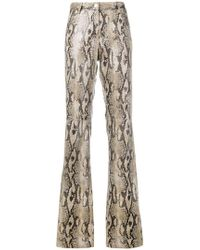 MSGM - Snake Effect Bootcut Trousers - Lyst