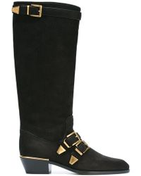 Chloé - Susanna Textured-leather Over-the-knee Boots - Lyst