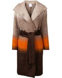Agnona - Colour-block Belted Coat - Lyst