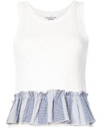 10 Crosby Derek Lam - Cropped Knit Shell With Contrast Ruffle Detail - Lyst
