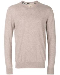 Burberry - Check Jacquard Detail Cashmere Sweater - Lyst