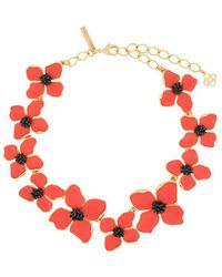 Oscar de la Renta - Painted Flower Necklace - Lyst