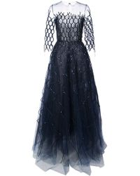 Oscar de la Renta - Sequin-embroidered Fishnet Gown - Lyst