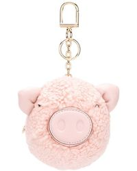 Tory Burch - Shell Fluffy Keychain - Lyst