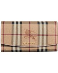 Burberry - Haymarket Check And Leather Slim Continental Wallet - Lyst