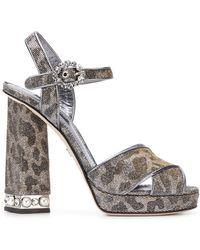 Dolce & Gabbana - Bejeweled Heel Platform Sandals - Lyst