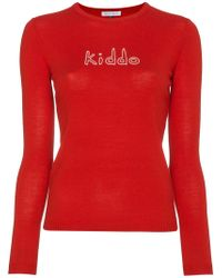 Bella Freud - Wool Crewneck Jumper With Kiddo Slogan - Lyst