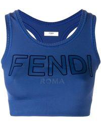 77b8dd619d50c Lyst - Fendi Logo Cropped Vest Top in Orange