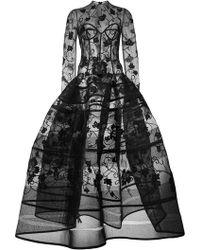 Oscar de la Renta - Floral Embroidered Gown - Lyst