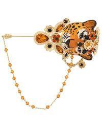 Dolce & Gabbana - Декорированная Брошь В Форме Тигра - Lyst