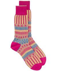 Ayamé - Pink Basket Lunch Patterned Socks - Lyst