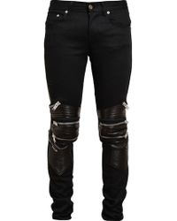 Saint laurent 15cm Zip Stretch Faux Leather Jeans in Black for Men ...